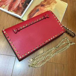 Wholesale Black Stud Bag - 2017 fashion women V Gold Rock Stud Flap Wristlet Clutch Bag Shoulder Bag Red Rivet