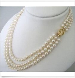 Wholesale white akoya cultured pearl necklace - FREE SHIPPING>>Natural 3 ROWS 7-8MM White Akoya Cultured Pearl Choker Necklace