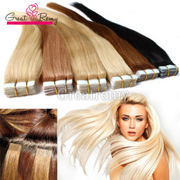 Wholesale Tape Hair Extensions Blonde Mix - (9 Colors Available) 7A PU Skin Weft Tape Hair Extensions Brazilian Virgin Straight Tape In Human Hair Extension Greatremy remy hair
