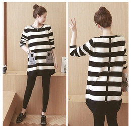 Wholesale Stripe Maternity - 2017 autumn maternity striped long-sleeved woman's clothing Smiling face striped stripes loose dress shirt long section woman's dress