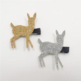 Wholesale novelty reindeer - 20pcs lot Glitter Felt Reindeer Hair Clips Christmas Head Wear Gift Gold Silver Novelty Baby Hairpins Toddler Festive Barrettes
