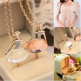 Wholesale Chic Lady - Wholesale- New Ladies Girls Fashion Cute Ballet Girl Pendant Chic Choker Crystal Chain Necklace Lovely Jewelry Party