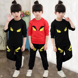Wholesale Little Boys Summer Clothes - New 2017 baby boy clothes infant clothes cotton little monsters long sleeve t-shirt+pants kids 2pcs suit baby girl clothing sets