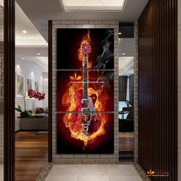Wholesale Modern Music Paintings - 3 Panel Wall Painting Modern Home Decors Black Burning Guitar Pop Art Music Pictures large canvas painting for living room