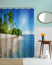 Wholesale Decorative Curtain Fabric - Wholesale- Palm Tree Beach Waterproof Shower CurtainS Bathroom Decorative Polyester Fabric Sky&Sea Bath Curtains rideau de douche cortinas