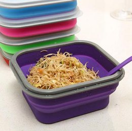 Wholesale Knife Spoon Fork Storage - Collapsible Lunch Box Food Container Picnic Storage Portable Bento Bowl Spoon Utensils With Spoon Tableware Cutlery Plastic