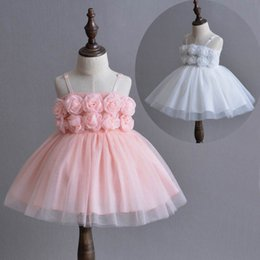 Wholesale White Dress Baptism Party - Baby Girls Princess Dresses Thin Rose Flower Christening Gown With Headband Infant Birthday Party Baptism Kids Clothes E1003
