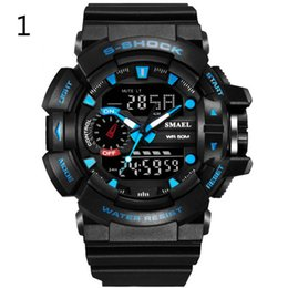 Wholesale Color Led Watches Display - SMAEL 30M Waterproof Men Sports Watch S-Shock Military Watches LED Quartz Dual Display Outdoor Men's Wristwatches SL1436