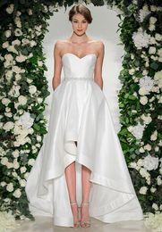 Wholesale Cathedral Train Taffeta Wedding Dress - 2017 tea length satin wedding dresses with high low skirt and pockets sweetheart neckline sweep train