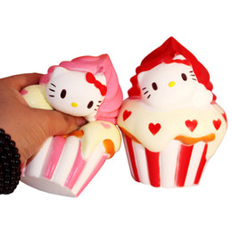 Wholesale Rose Cone - 10Pcs 12cm Jumbo Squishy Hello Kitty Ice cream cone Puff Cake Phone Strap Cat Charms Slow Rising Kid Toy Gift