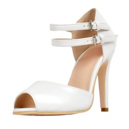Wholesale White High Heel Sandals 12 - White Ankle Strap Open Toe Sandal Women High Heels Ol Summer Shoes Ladies Stilettos Heels Size 12 Shoes Woman Sandals Ladies