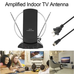 Wholesale Tv F Connectors - LAN-1014 Amplified HDTV Indoor Digital TV Antenna 50 Mile Range UHF   VHF with Power Supply for DTV   FM Receiver F Connector US Plug V2620