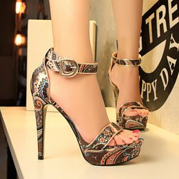 Wholesale Sandal Heels 3cm - Lady Footwear New Women High Heel Sandals Printing Thin Heel Ankle Strap Sandals Dresses Pumps 3cm Platforms Summer Shoes Woman Sandals A002
