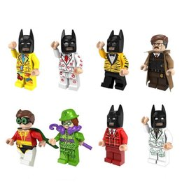 Wholesale Diy Assemble - Building Blocks Minifigures Action Bricks Super Heroes Bat Gord Robin Riddler Assembled Kids Christmas Gift DIY Toys 8pcs set PG8046
