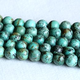 """Wholesale Semi Precious Turquoise Beads - AAA High Quality Natural Genuine Blue Green Africa Turquoise Semi-precious stone Round Big Beads 14mm 15.5"""" 05234"""