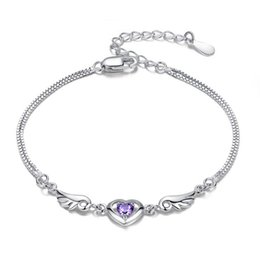 Wholesale Sterling Silver Solid Chain - 3pcs Solid 925 Sterling Silver Bangle Bracelet Angel Wings Love Heart with Austrian Crystals For Woman Wholesale Fine Jewelry SL01