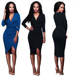 Wholesale Fish Design Dresses - Ladies Dresses Black Slim Design Solid Blue Fish Dress For Female Night Club Evening Party dress women high Stretchable LMT-051