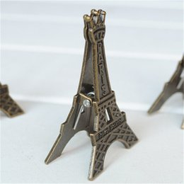 Wholesale Vintage Paper Clips - Vintage Eiffel Tower Card Stand Paper Clamp Bookmark Metal Clip Office Stationery --Christmas Gift Novelty Toys