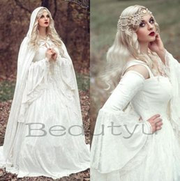 Wholesale Bell Balls - Renaissance Gothic Lace Ball Gown Wedding Dresses With Cloak 2017 Plus Size Vintage Bell Long Sleeve Celtic Medieval Princess Bridal Gown