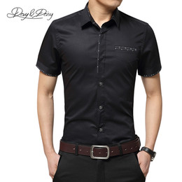 Wholesale Ds Shirt - Wholesale- Chemise Homme Men Shirt Summer Short Sleeved Comfortable Solid Business Casual Turn-Down Collar Dress Shirt Men 6 Colors DS-034