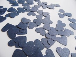 Wholesale Scatter Confetti Navy - Wholesale- Navy Blue Heart Confetti, Table Scatter, Pearl Card Stock, Wedding Reception Decoration Party Table decor scrapbook Confettis
