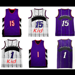 Wholesale Men S Mesh - Men's Mesh #1Tracy McGrady Jersey toronto #15 Vince Carter Jersey Youth #15 Vince Carter Jersey 100% stitched Embroidery Logos Free Shipping