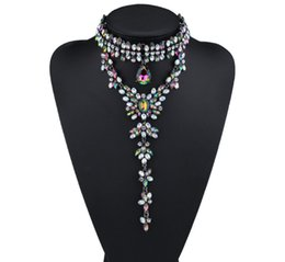 Wholesale Luxury Fashion Designer Jewelry - hot sale Fashion jewelry lady glittering luxury colorful full rhinestone diamond crystal pendant designer statement choker necklace
