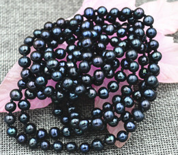 "Wholesale Aa Circle - New 6-7mm Black real akoya Tahiti Cultured Pearl Necklace 50"" AA+"