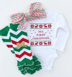 Wholesale Girls Legging Stripes - Chidlren Romper Clothes Leg Warmers Hariband Set Baby Girl Stripe Autumn Winter Outfits Baby Letter Clothes Xmas Gfits DHL Free Shipping