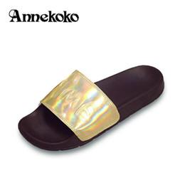 Wholesale Gold Glitter Womens Heel - Summer Sandal Womens Open Toe Leather Sandals 2017 Women Slippers Fashion Casual Gold Glitter Beach Shoe Flats Size 35-44