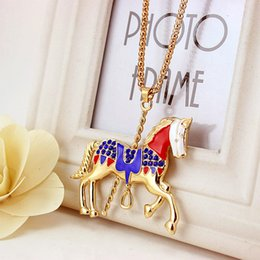 Wholesale Wholesale Carousel Necklace - Full Diamond Carousel Necklaces For Women Cute Animal Pendant Fashion Chains Long Sweater Chain Luxury Party Gifts Accessories Wholesale
