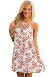 Wholesale White Shift Fashion Dress - Newest 2017 Summer Fashion Holidays Dresses For Women apparel Floral Print Crisscross Neckline Shift Dress vestidos curtos casuais