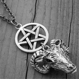 Wholesale Rams Head - 12pcs lot Silver Ram Head Necklace Pentagram Necklace Gothic Goth Witch Witchcraft Satanic Baphomet Goat's Head necklace