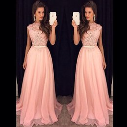 Wholesale Jewel Evening Top - New Arrival Lace Top Long Evening Dress High Quality Pink Chiffon Women Party Gown Plus Size