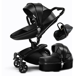 Wholesale Baby Pram System - Wholesale- 3 In 1 Leather Baby Stroller Set High Landscape Stroller System Baby Pram 360 Rotation Pushchair with Bassinet and Car Seat