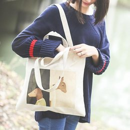 Wholesale Cheap One Shoulder Bags - cheap bag Cartoon deer Canvas Woman Bags Single Shoulder handbag Leisure female canvas bag One-shoulder handbags Zipped Lady ShooolBag