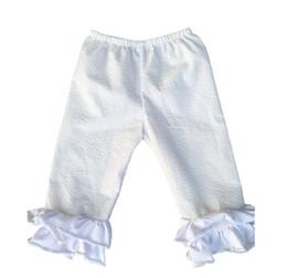 Wholesale Kids Capri Leggings Wholesale - 2016 Rushed Promotion Girl Wholesale Baby Girls Seersucker Cotton Icing Ruffle Capri Pants Children Solid Color Leggings Kids Chic Boutique
