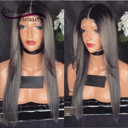 Wholesale Grey Lace Front Wigs - Hotselling 1B   grey ombre wig long straight synthetic lace front wig heat resistant fiber wig for women