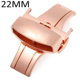Wholesale 18mm Rose Gold Watch Band - Wholesale- Rose Gold Stainless Steel Buckle Double Push Automatic Polished Watch Band Clasp 12mm 14mm 16mm 18mm 20mm 22mm