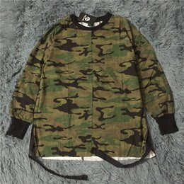Wholesale Street Clothes Wholesale - Wholesale- 2016 new hip hop swag T shirt clothes street wear kpop urban men long sleeve longline OVERSIZE t shirt camo camouflage