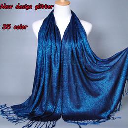 2019 sciarpa di scintillio scintillante All'ingrosso-Plain Shimmer moda printe di colore solido glitter viscosa lurex lunghi scialli hijab musulmano inverno avvolgere sciarpe / sciarpa sciarpa di scintillio scintillante economici