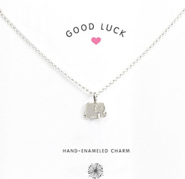 Wholesale Good Luck Elephant - With card! Cute Necklace with little silver and gold color elephant pendant (good luck), noble and delicate, free shipping high quality.