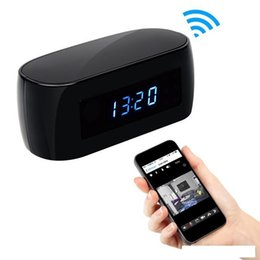 Wholesale Hd Table Clock Camera - 1080P Wifi Clock Hidden IP Camera P2P with Night Vision HD table clock Spy Cam remote monitor Home Security Camcorder Baby Monitor
