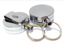 Wholesale Fast Reels - 100pcs lot Fast shipping Metal 60cm long Retractable Reel Bus Credit ID Card Holder keyring keychain