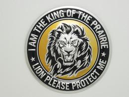 Wholesale Diy Metal Badges - 3D DIY Silver Animals Head Round Lion Head Metal Logo Sticker Car Motorcycle Badge Emblem Decals Free shipping 10PCS Lot