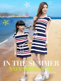 Wholesale Navy Casual Dress - Hot Sale 2015 Mother & Daughter Pure Cotton Navy Stripe Dress Summer Blue White Red Dress Mother Dress Child