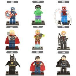 Wholesale Ironman Toys Figures - 120pcs Mix Order Super Heroes Minifig The Avengers Spiderman Ironman Batmat Superman Hulk Thor Hawkeye Figures Building Blocks Figure Toy