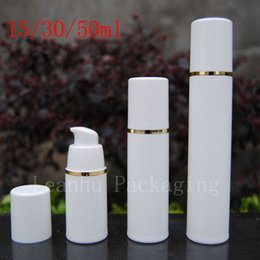 Wholesale Cosmetic Airless Pump Gold - Wholesale- Empty White Airless Lotion Cream Pump Plastic Container ,Travel Cosmetic Skin Care Cosmetic Bottle Airless Dispenser Gold Strip