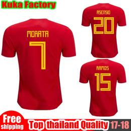 Wholesale Uniforms Dhl - FREE DHL 2018 World Cup Spain Soccer Jersey MORATA ISCO ASENSIO RAMOS SILVA TORRES A.INIESTA FABREGAS Football uniforms Wholesales Jerseys