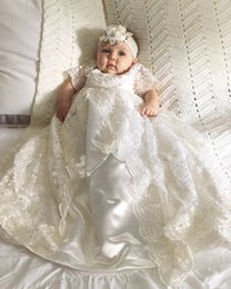 Wholesale Cheap Baptism Gowns - New Lace Christening Dresses For Baby Girl With Half Sleeves Baptism Gown Cheap Kid First Communication Dress